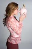 Woman Holding Piggybank Royalty Free Stock Photo