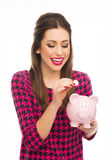 Woman holding piggybank Royalty Free Stock Photography