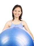 Woman holding  pilates ball Stock Photos