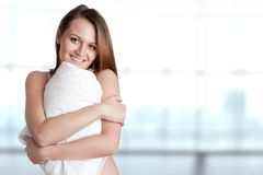 Woman Holding Pillow Stock Photography