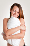 Woman Holding Pillow Royalty Free Stock Photo