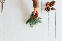 Woman holding a pine branch for decoration Stock Images