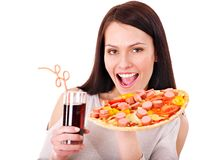 Woman holding pizza. Royalty Free Stock Photos