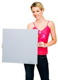 Woman holding a placard Royalty Free Stock Photos