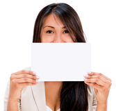 Woman holding a placard Stock Photography