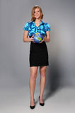 Woman Holding Planet Earth Stock Images