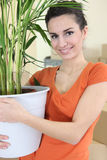 Woman holding plant Royalty Free Stock Photography