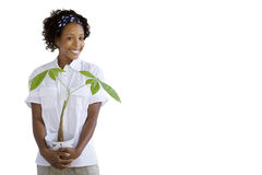 Woman holding plant, cut out Royalty Free Stock Photo