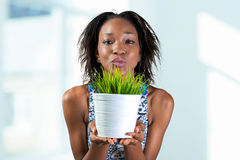 Woman holding plant in vase Stock Photo