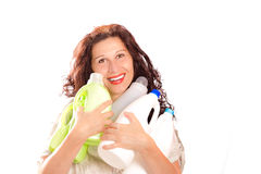 Woman holding plastic bottles Stock Photos