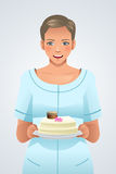 Woman Holding a Plate of Cake Stock Image
