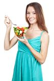 Woman holding plate of fresh vegetables Royalty Free Stock Photo