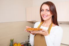 Woman holding plate with healthy foods Royalty Free Stock Photos