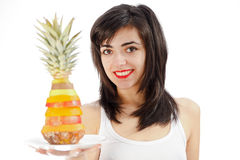 Woman holding Plate of Mixed Fruits Stock Photography