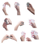 Woman holding playing cards set Royalty Free Stock Images