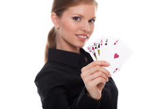 Woman holding poker card with combination of Full Stock Photos