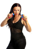 Woman holding poker chips Stock Photo
