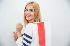 Woman holding Polish flag Stock Image