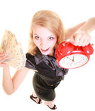 Woman holding polish money banknote and alarm clock. Stock Photo