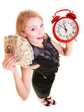 Woman holding polish money banknote and alarm clock. Royalty Free Stock Images