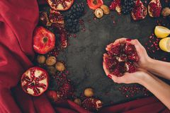 woman holding pomegranate Stock Images
