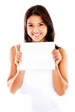 Woman holding a poster Stock Photo