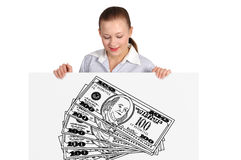 Woman holding poster with dollar Stock Photography