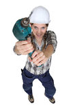 Woman holding power drill Stock Photos