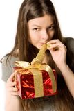 Woman, holding present Royalty Free Stock Image