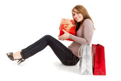 Woman holding present Stock Images