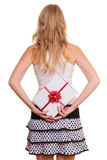 Woman holding present Royalty Free Stock Image