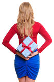 Woman holding present Stock Photography