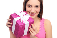 Woman holding present Royalty Free Stock Photography