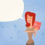 Woman Holding Present Box Retro Poster 8 March Holiday Stock Image