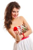 Woman holding a present with engagement ring Royalty Free Stock Photos