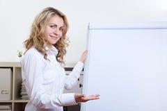 Woman holding a presentation Stock Photo