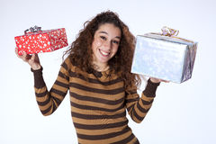 Woman holding presents Royalty Free Stock Photography