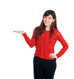 Woman holding product Royalty Free Stock Photo