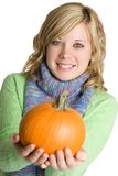Woman Holding Pumpkin Royalty Free Stock Photos