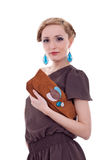 Woman holding purse stock image