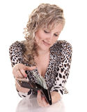 Woman holding purse with cash Royalty Free Stock Image