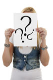Woman is holding question mark Stock Photography