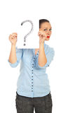 Woman holding question mark Stock Photo
