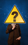 Woman holding question mark stock illustration