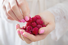 Woman holding raspberries in hands Stock Image