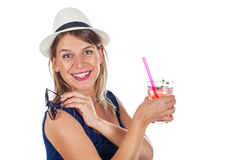 Woman holding a raspberry juice - isolated. Picture of a smiling young woman holding a refreshing raspberry juice with ice and mint, posing on isolated Stock Photography