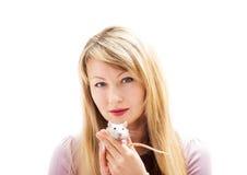 Woman holding a rat Stock Photos