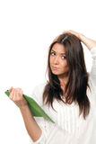 Woman holding reading book tablet Royalty Free Stock Photos