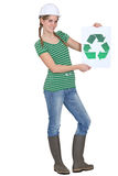 Woman holding recycle logo Stock Photos