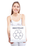 Woman Holding Recycling Waste Box Royalty Free Stock Photography